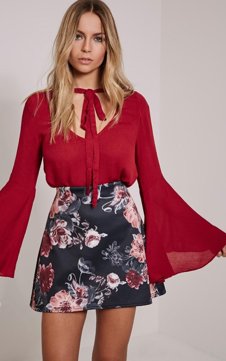 Fawny Black Floral Print A-Line Mini Skirt 1
