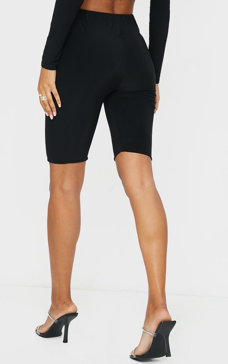 Black Slinky Tie Waist Cycle Shorts 3