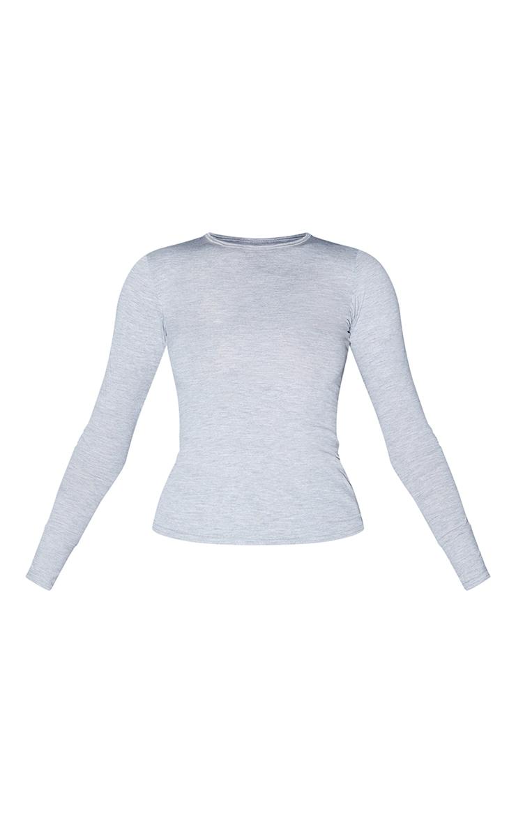 Tall Grey Marl Basic Long Sleeve Top 5