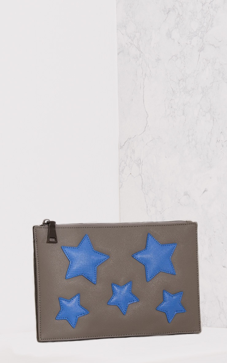 Aimee Grey PU Star Detail Clutch Bag 1