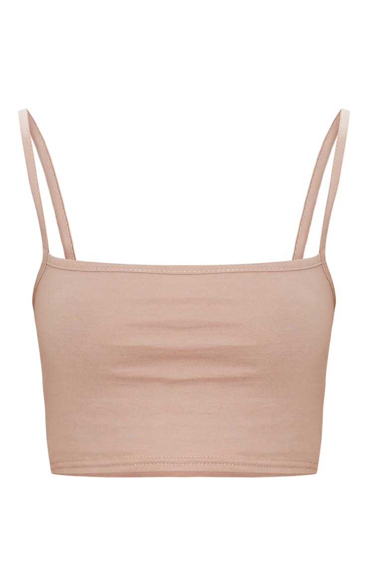 Taupe Jersey Square Neck Crop Top 3
