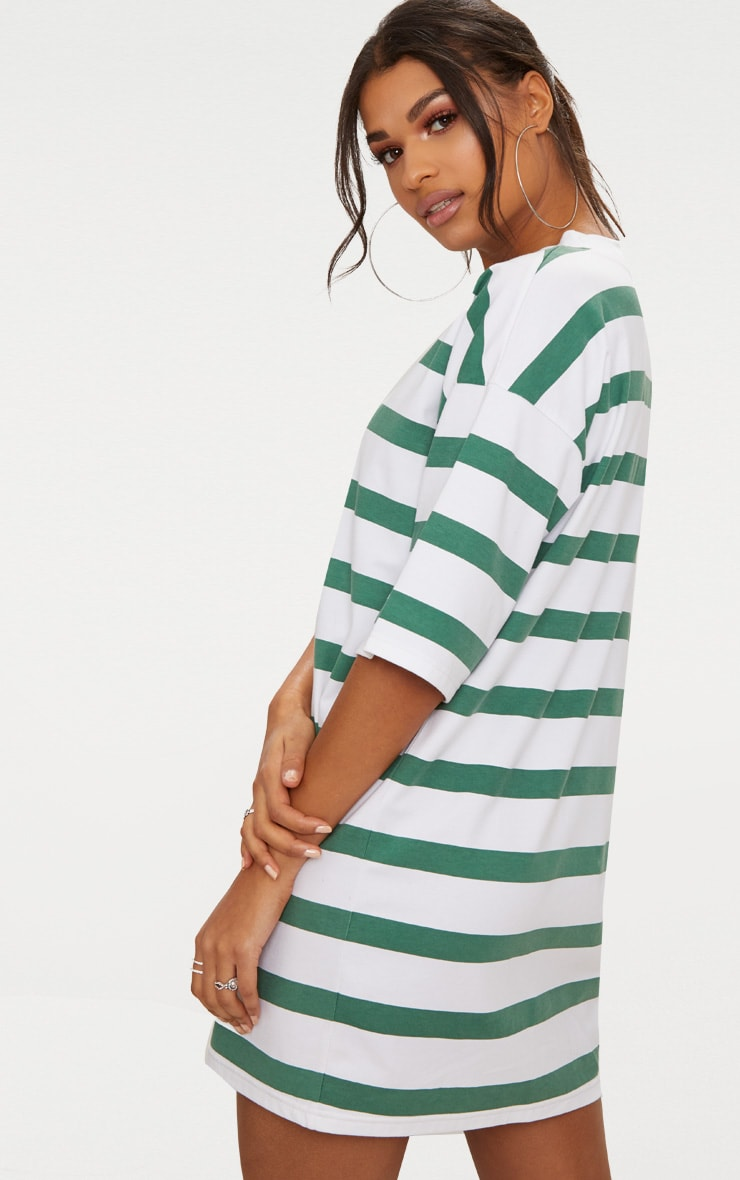 Emerald Green Striped Oversized Boyfriend T Shirt Dress 2