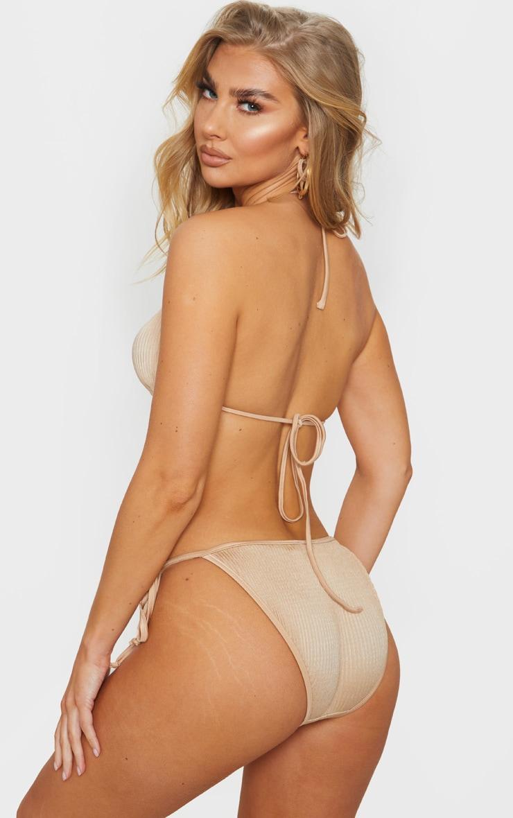 Gold Pleated Padded Triangle Bikini Top 2