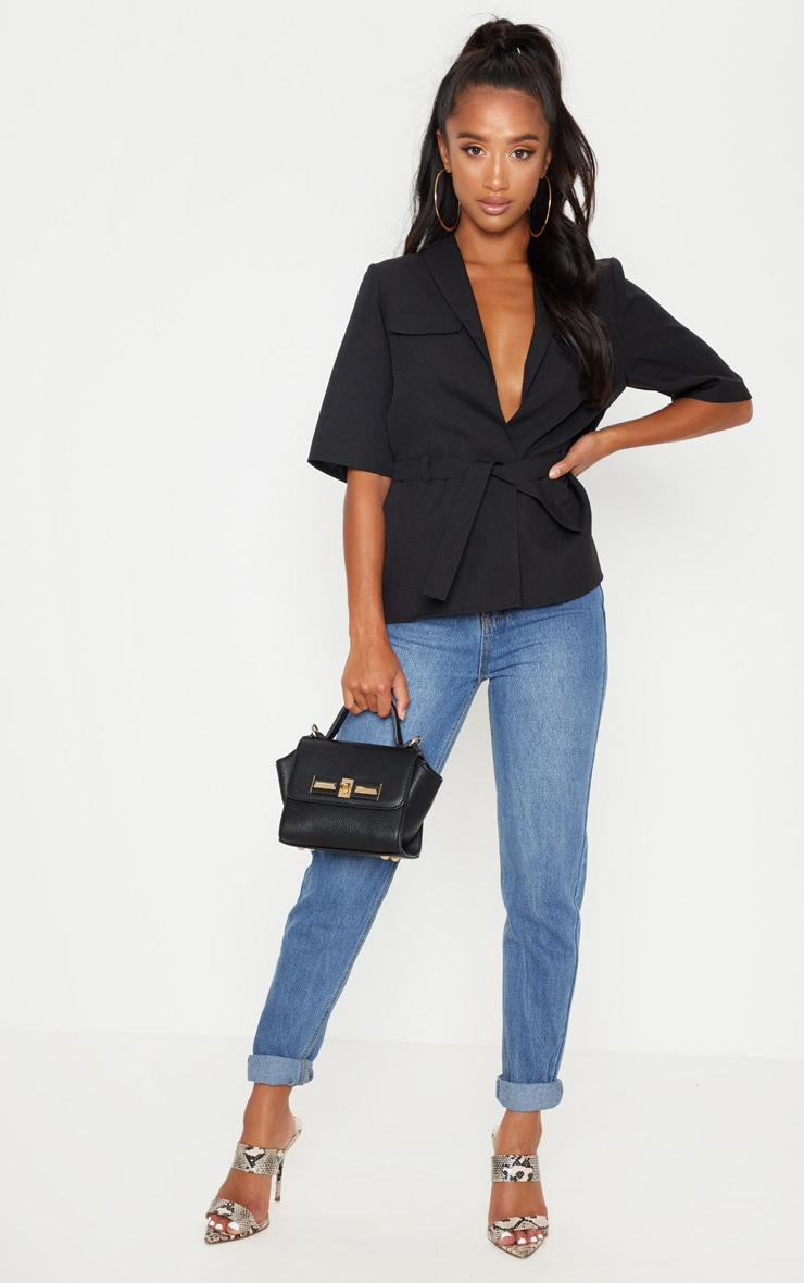Petite Black Cargo Pocket Detail Tie Waist Shirt 4