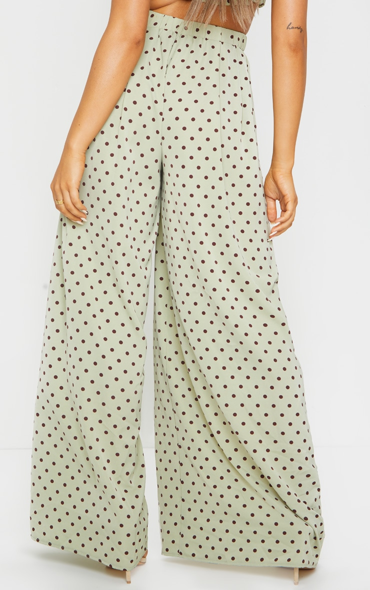 Sage Green Polka Dot Print Wide Leg Pants 3
