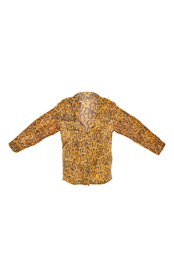 Plus Orange Sheer Snake Print Pocket Detail Oversized Shirt 3