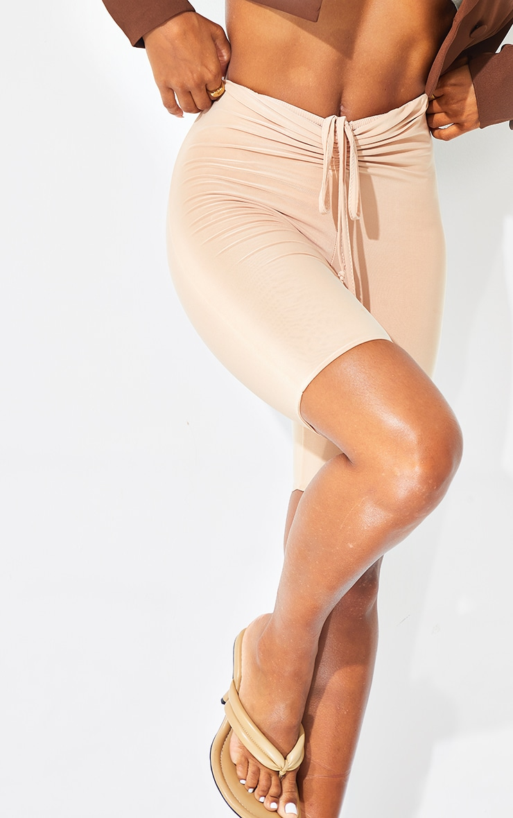 Cream Slinky Ruched Waist Cycle Shorts 5