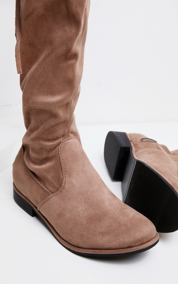 Taupe Flat Over The Knee Boot 3