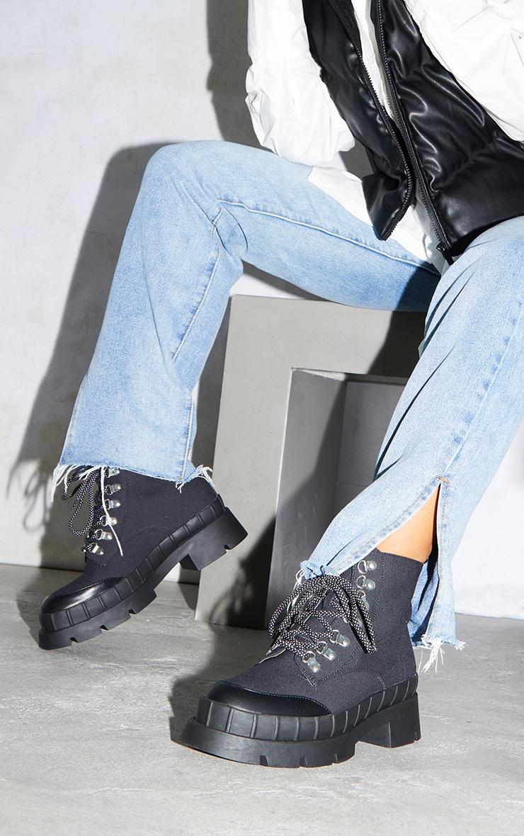 Black Canvas Round Toe Cap Hiker Lace Ankle Boots 1