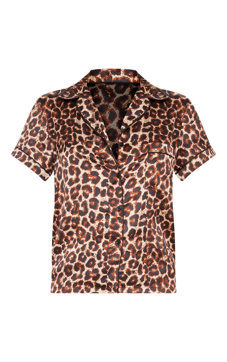 Leopard Button Up Short Satin Pyjama Set  3