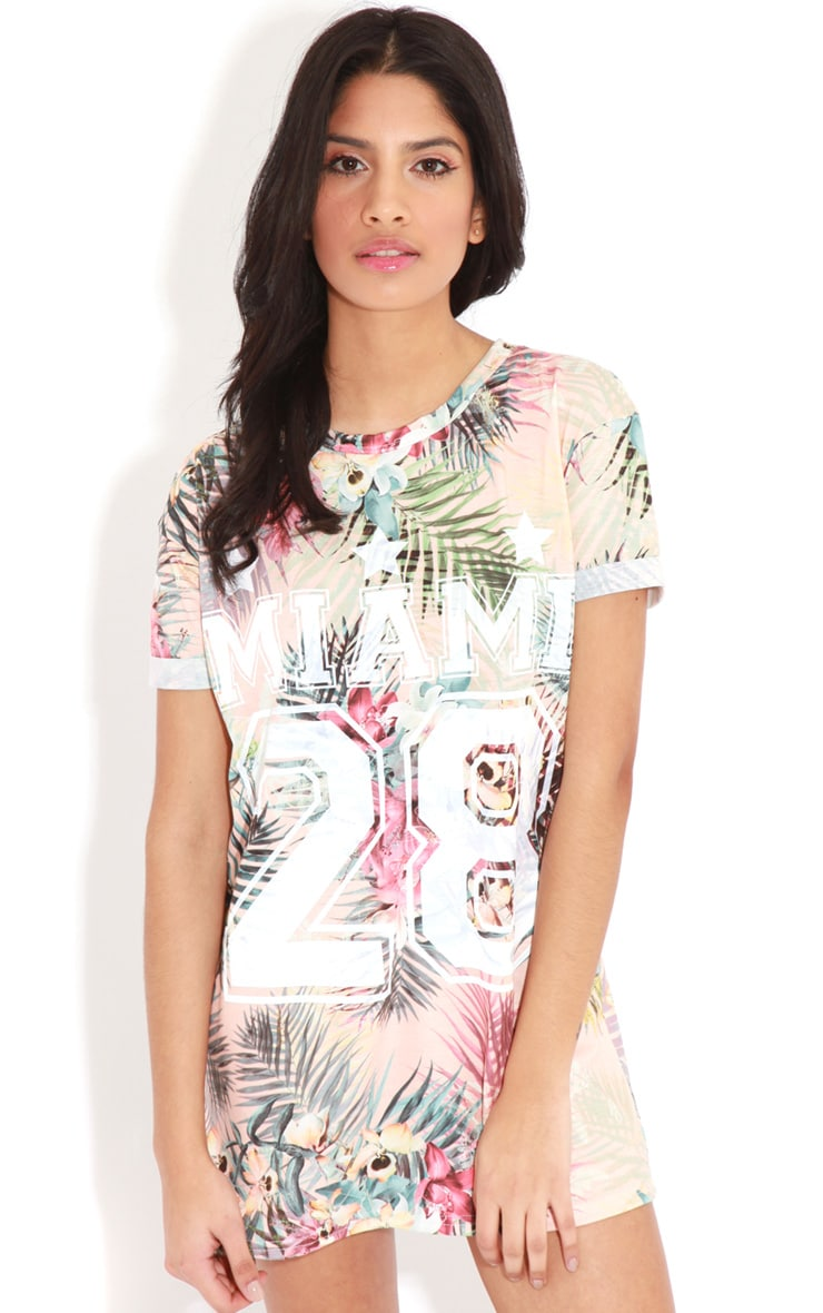 Aubree Peach Floral Miami 28 Sports Tee 1