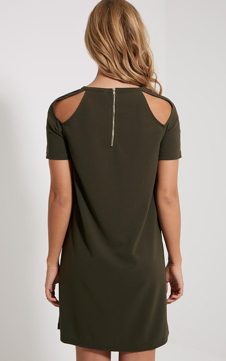 Sandie Khaki Cold Shoulder Shift Dress 2