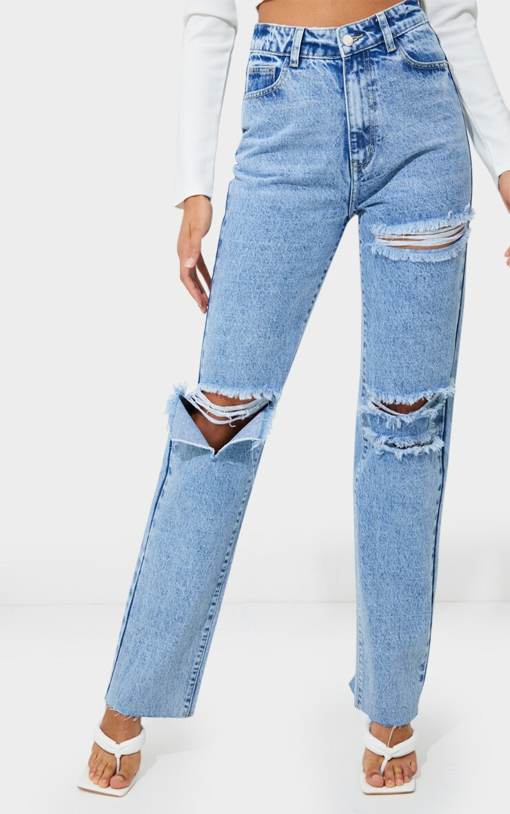PRETTYLITTLETHING Acid Wash Distressed Long Leg Straight Jean 2