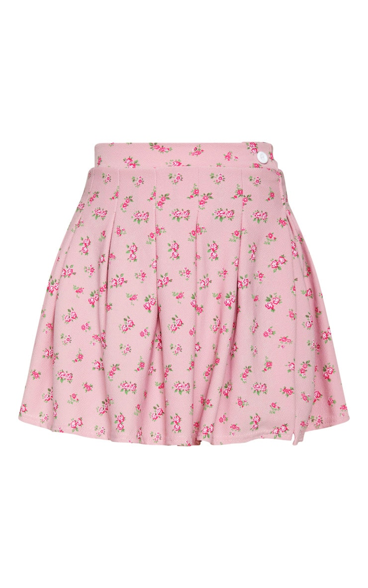 Pink Ditsy Floral Print Pleated Split Side Tennis Skirt  3
