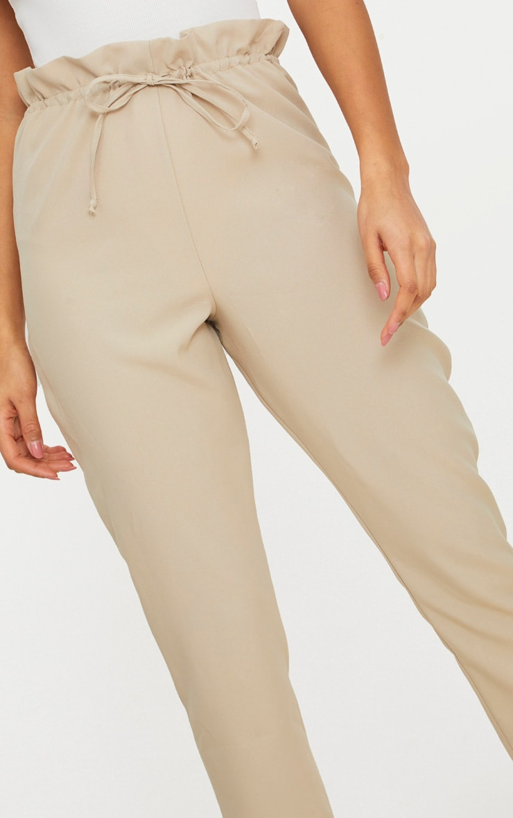 Stone Woven Paperbag Slim Leg Trousers 4
