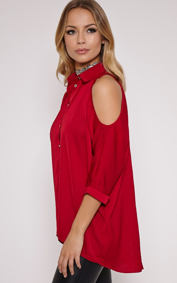 Isa Red Cold Shoulder Drop Back Shirt 4