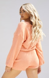 Petite Peach Fluffy Knitted Slouchy Cardigan 2