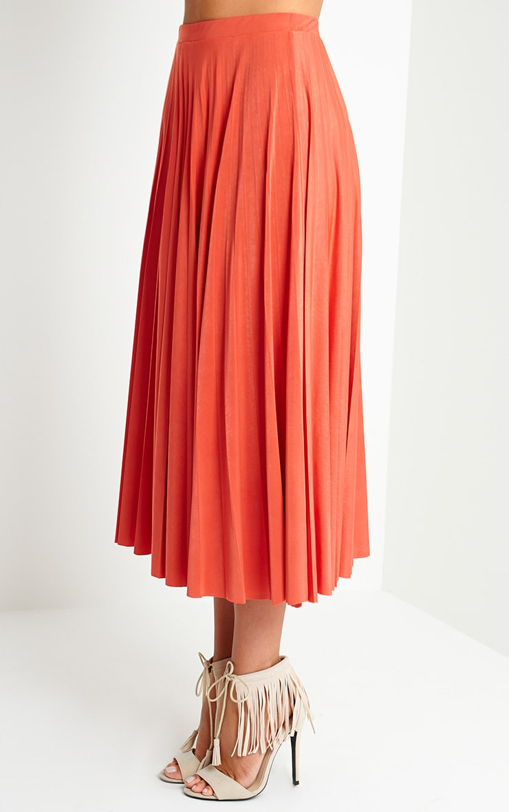 Chelsey Orange Pleated Skirt 3