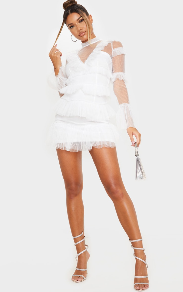 White Ruffle Mesh Bodycon Dress 3