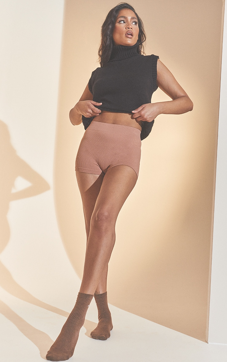 Taupe Structured Contour Rib Hot Pants 1