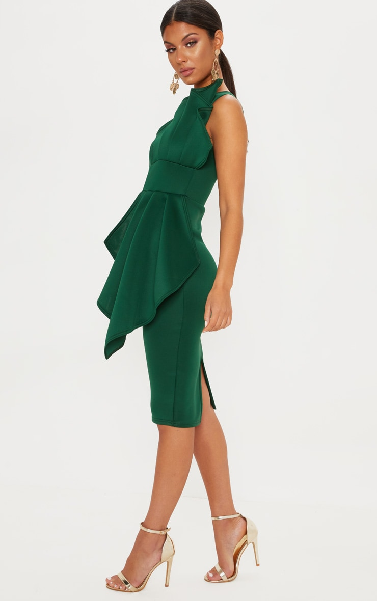 Emerald Green One Shoulder Pleated Detail Midi Dress 4