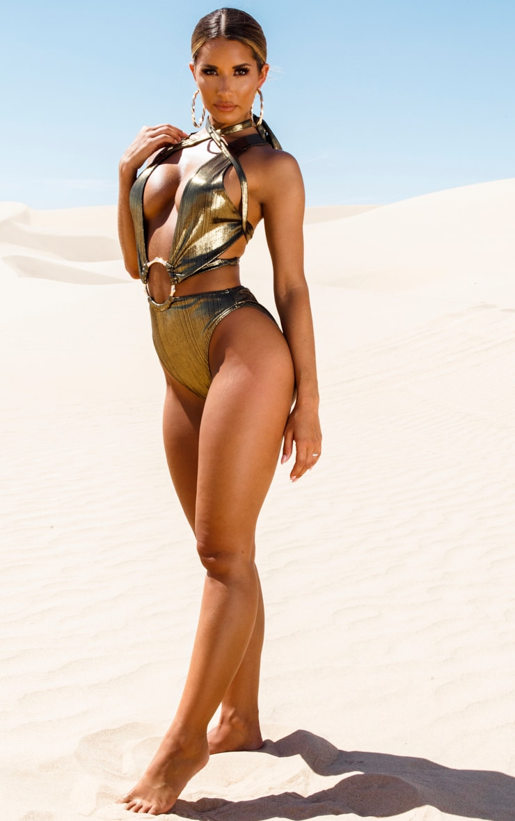 Gold Bamboo Ring Metallic Wrap Swimsuit