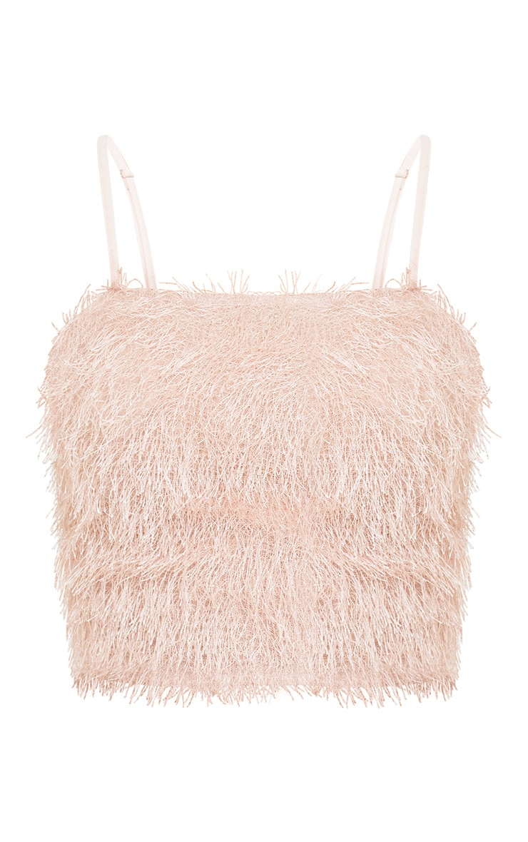 Diala Pink Eyelash Fringe Crop Top  3
