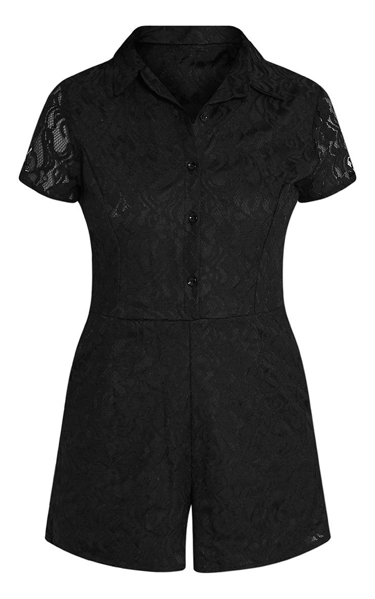 Clarisa Black Lace Shirt Playsuit 3