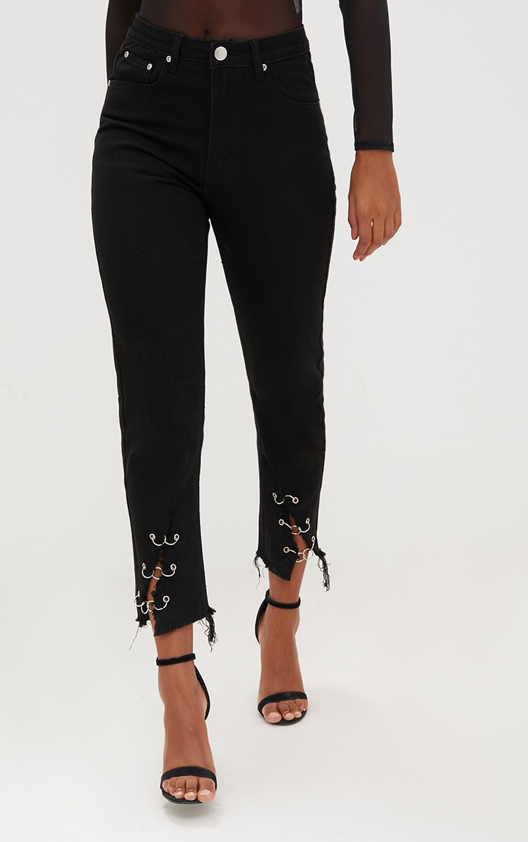 Black Ring Hem Mom Jeans 2