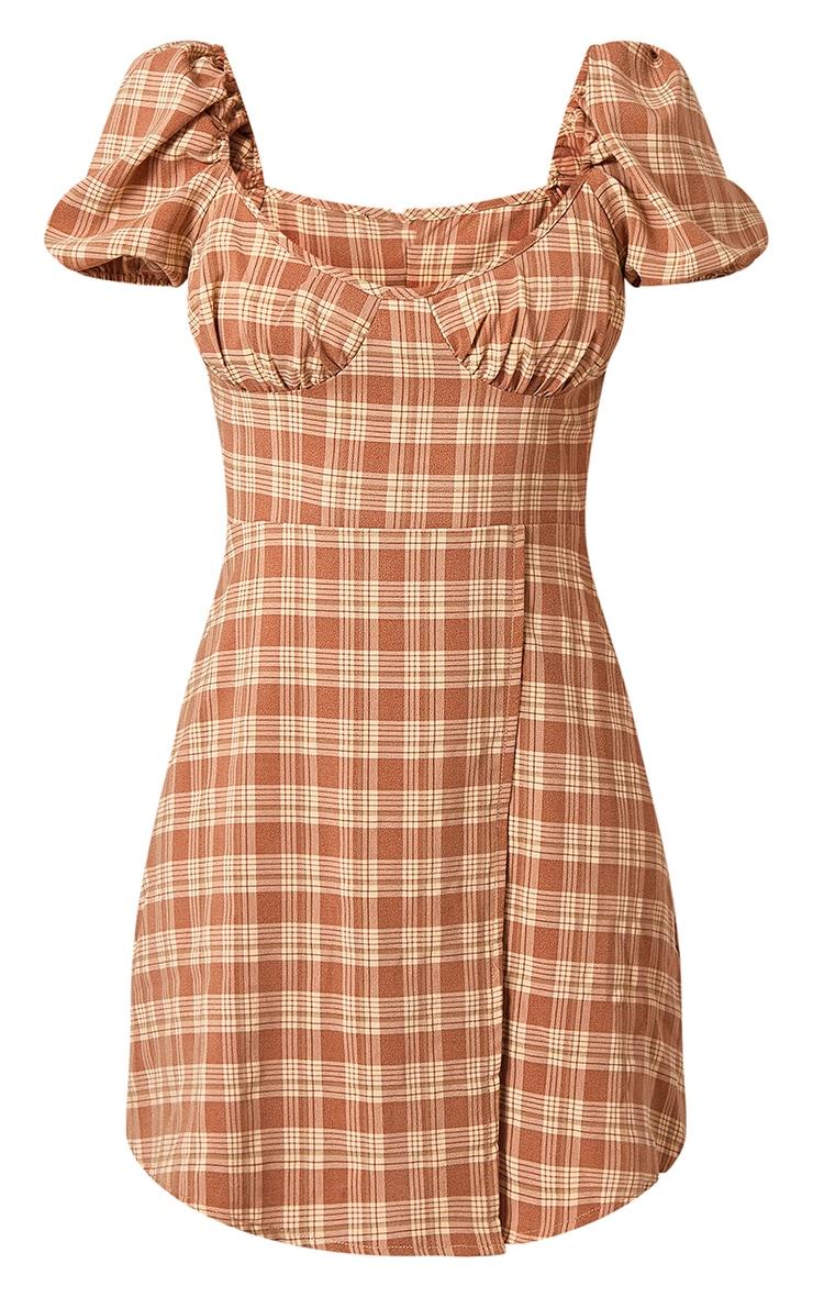Brown Check Print Bust Detail Cut Out Shift Dress 5