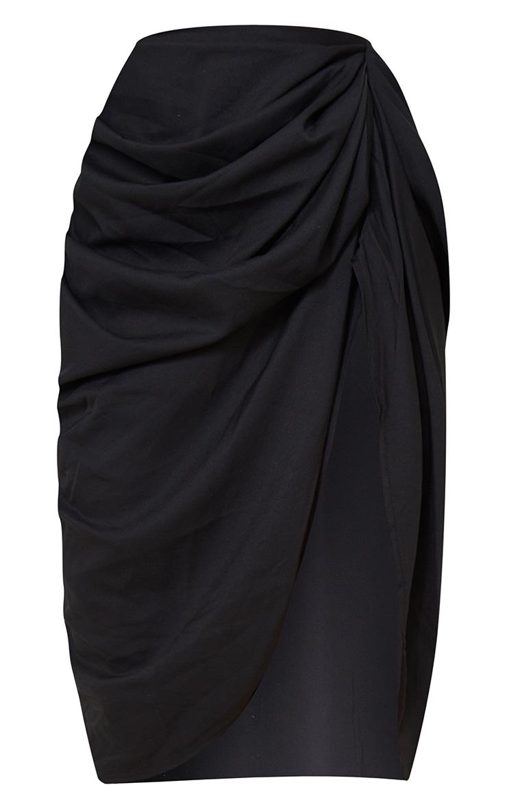 Petite - Jupe mi-longue noire à côté froncé 6