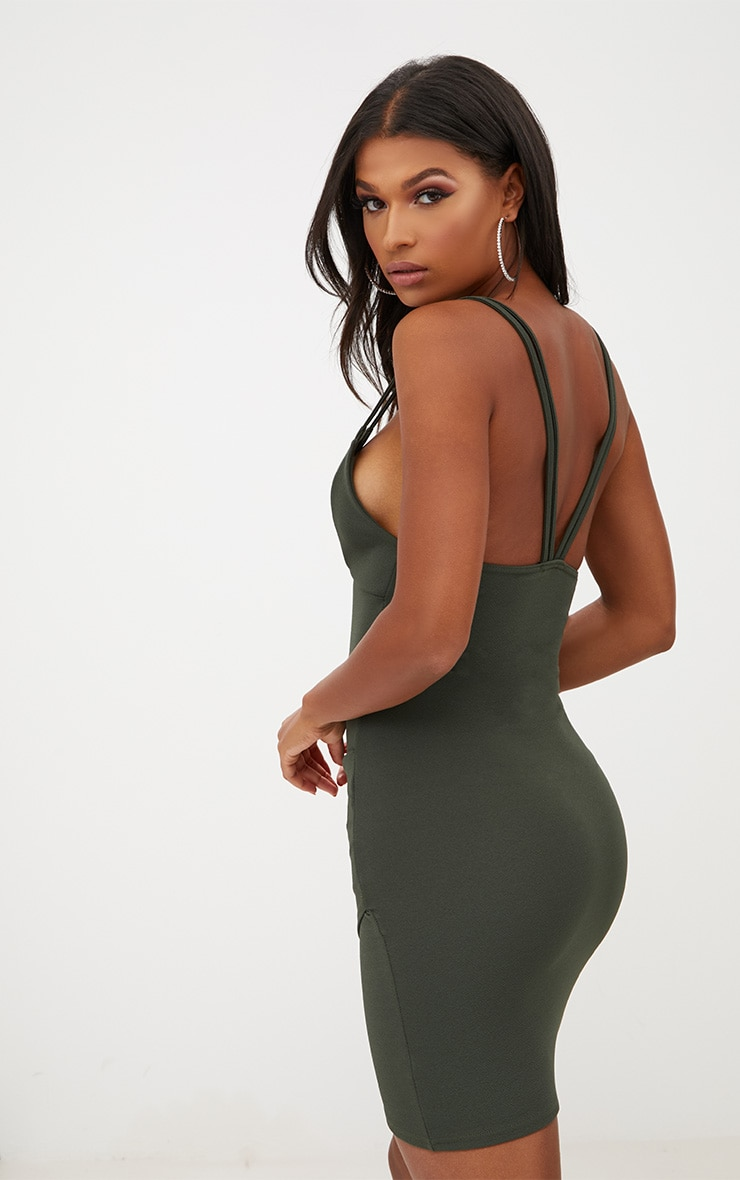 Khaki Double Strap Wrap Skirt Bodycon Dress 2