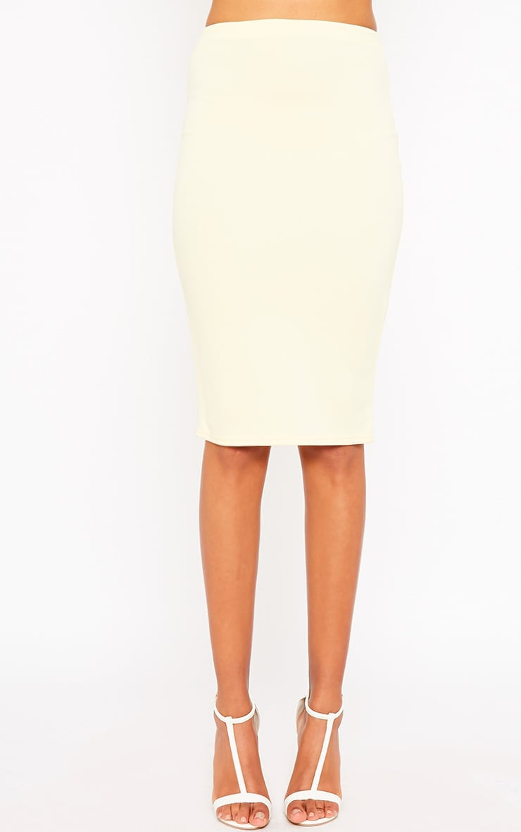 Winnie Lemon Scuba Midi Skirt 2