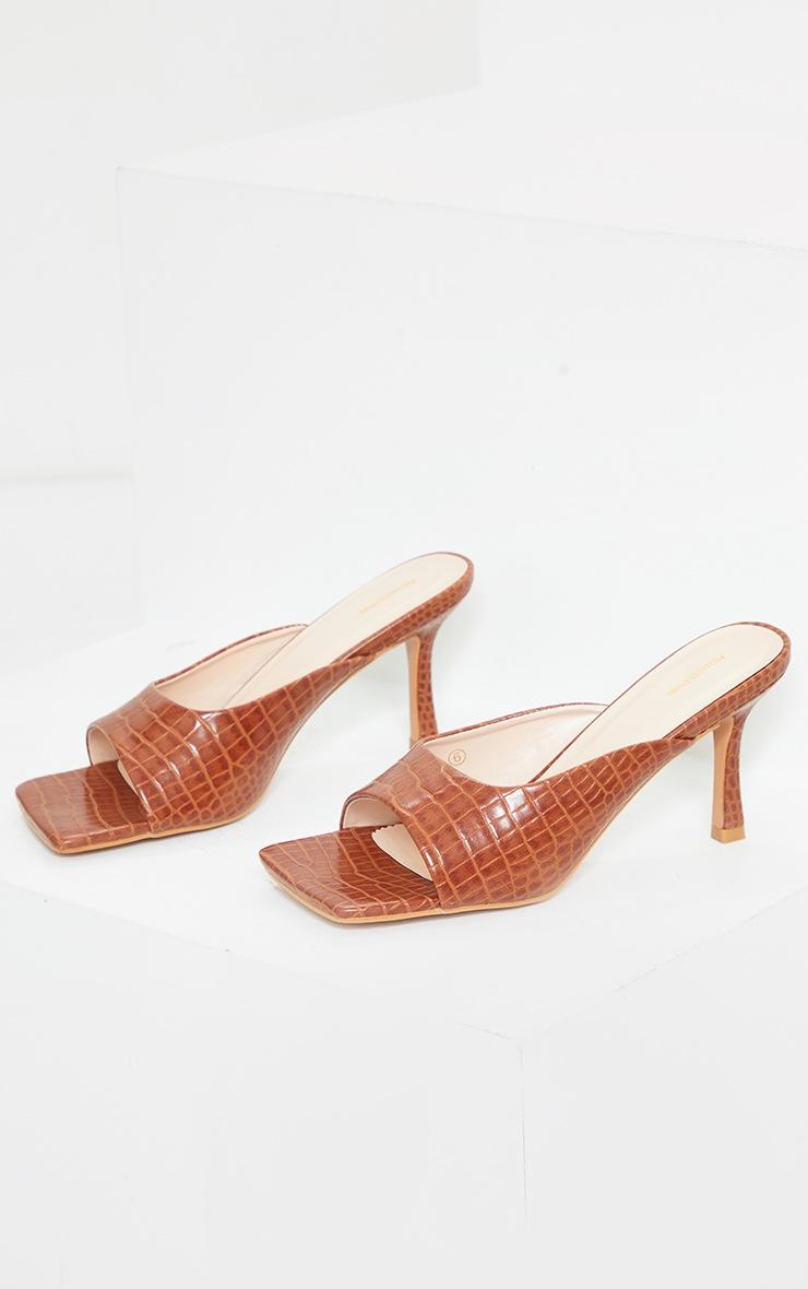 Tan Croc PU Box Strap Low Heeled Mules 4