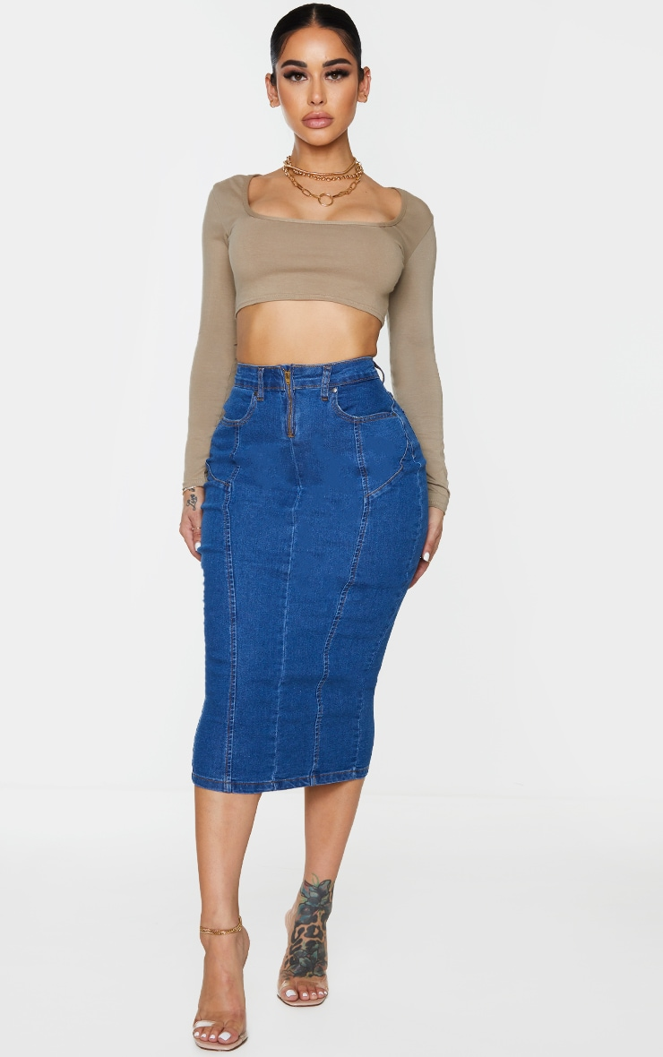 Shape Mid Blue Wash Seam Detail Zip Denim Midi Skirt 4