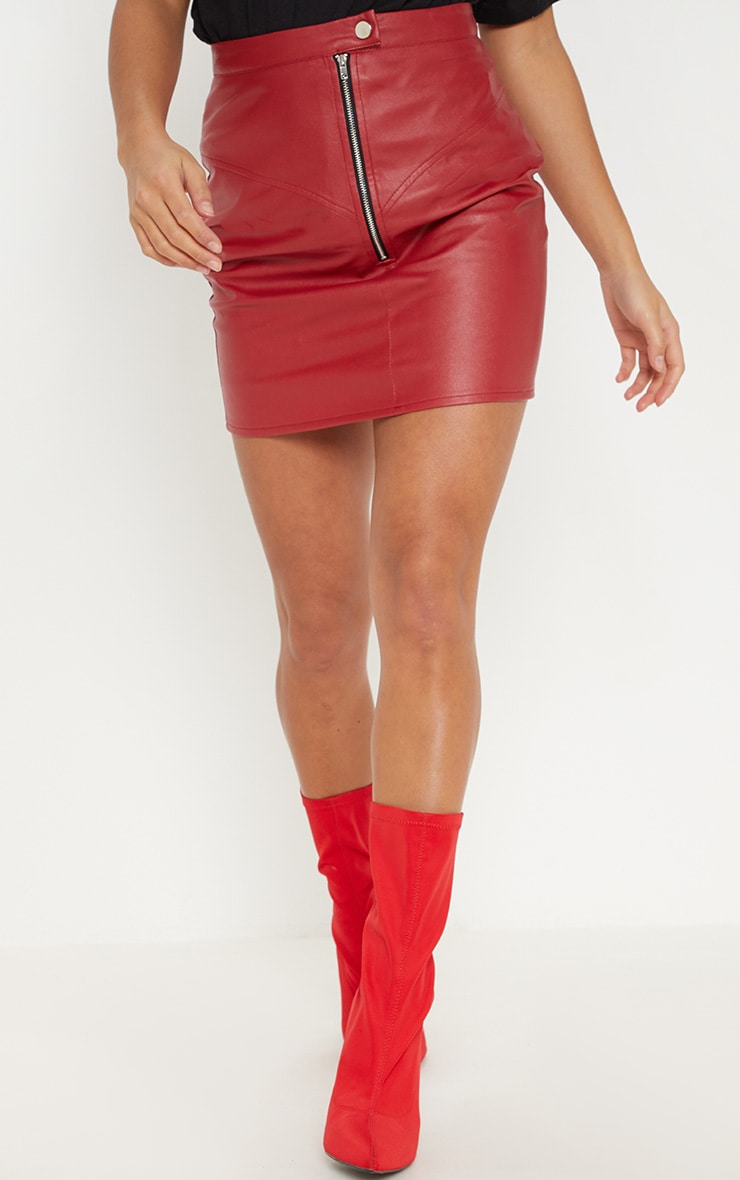 Petite Red Zip Detail Faux Leather Skirt 2