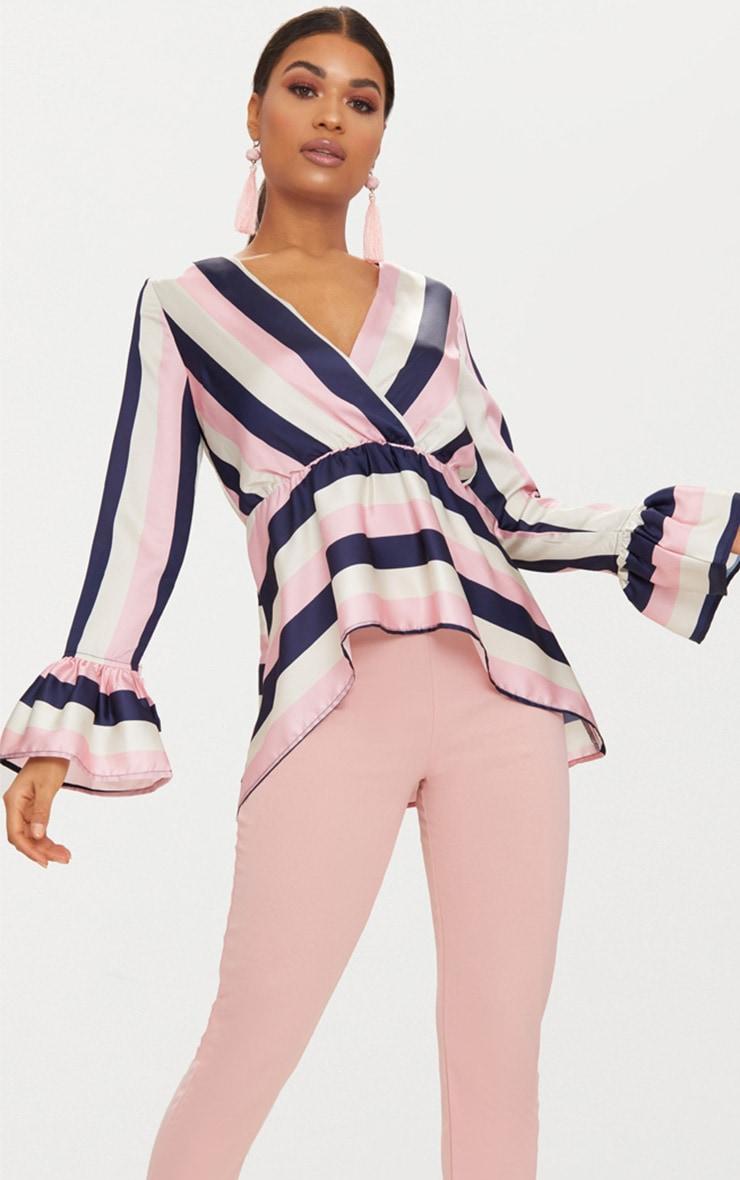 Pink Satin Plunge Stripe Blouse  1