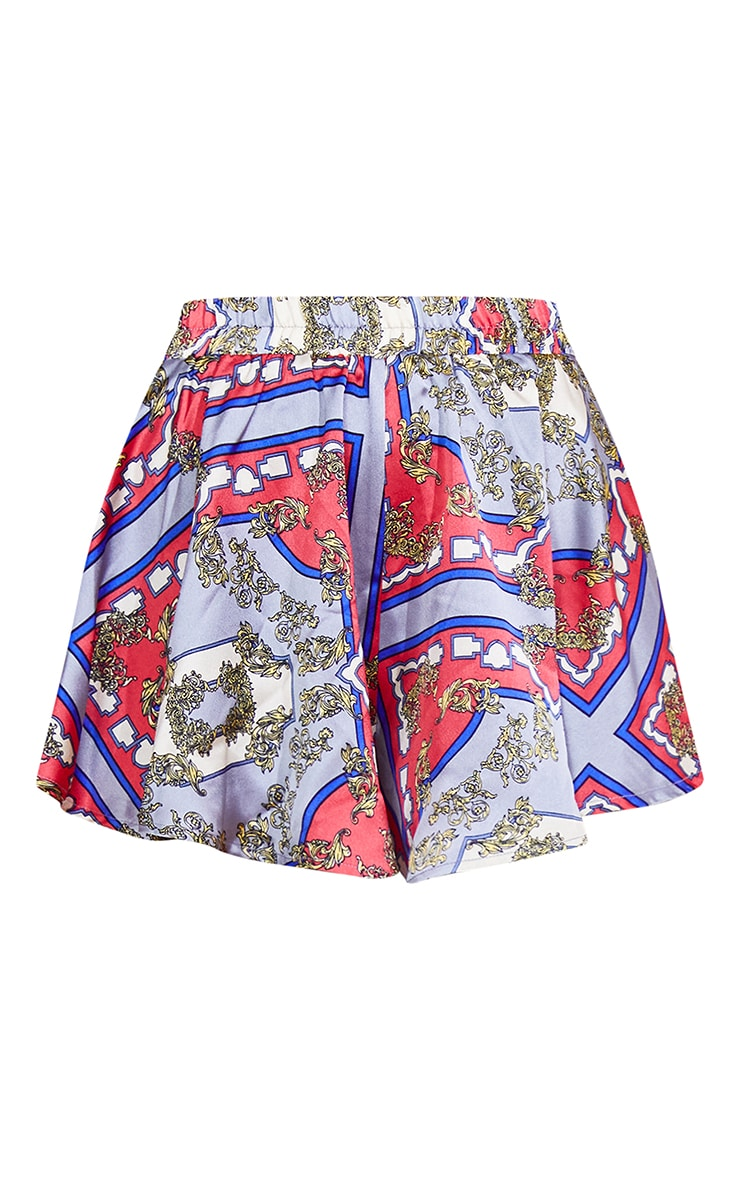 Red Scarf Print Floaty Shorts 6