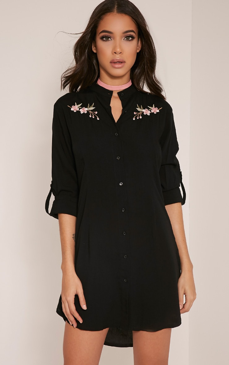 Isla Black Floral Embroidered Shirt Dress 1