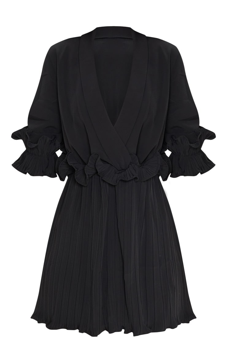 Black Frill Detail Pleated Skater Dress 3