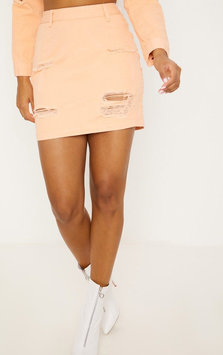 Peach Super Distress High Waisted Denim Mini Skirt 2