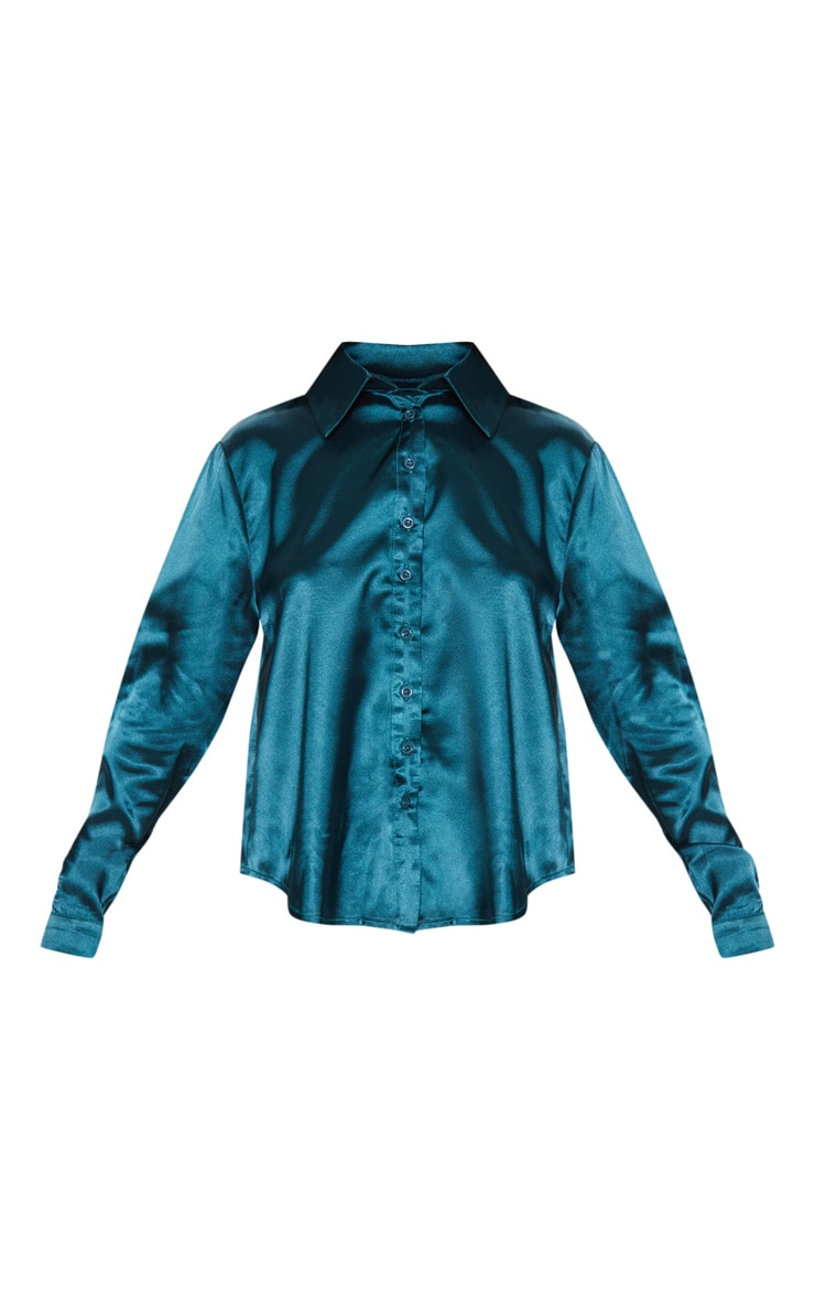 Petite Emerald Green Satin Shirt 2