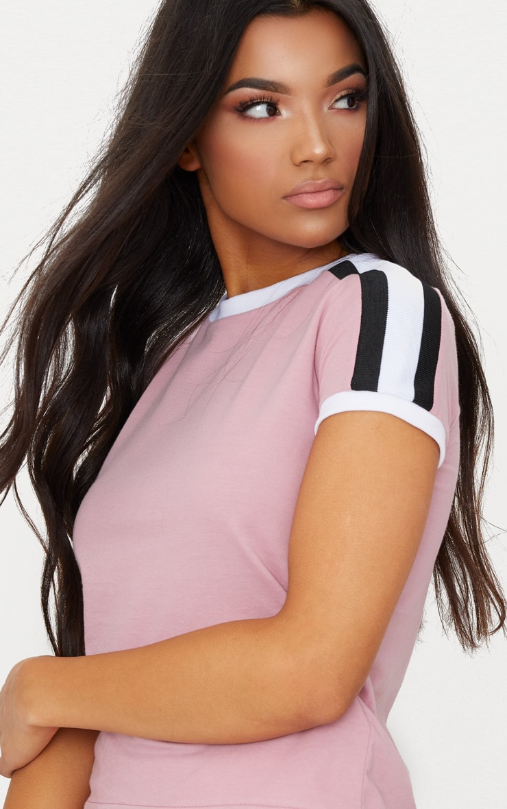 Rose Triple Stripe Shoulder T Shirt  5