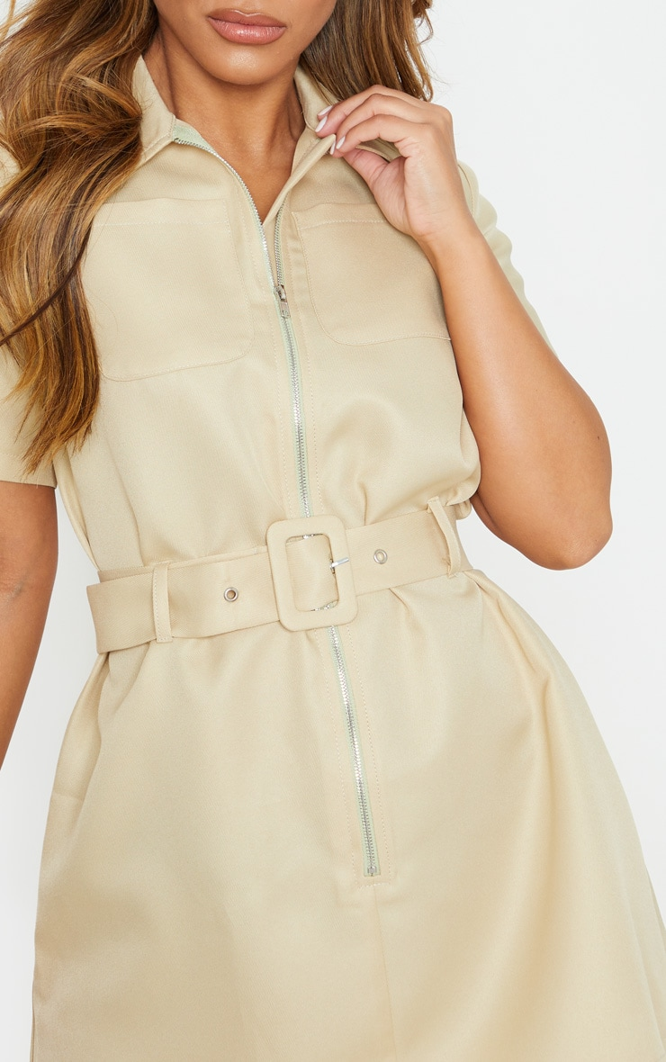 Petite Stone Zip Detail Belted Utility Dress 5