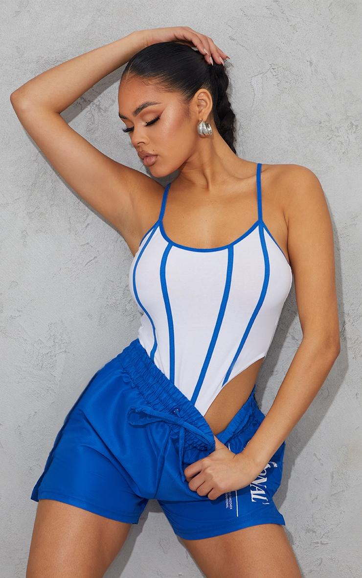White Stripe Contrast Binding Detail Strappy Bodysuit 1