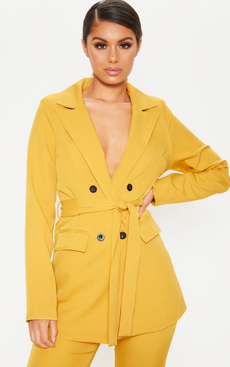 Mustard Belted Long Line Woven Blazer  1