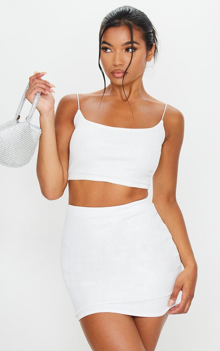 White Textured Glitter Mini Skirt 4