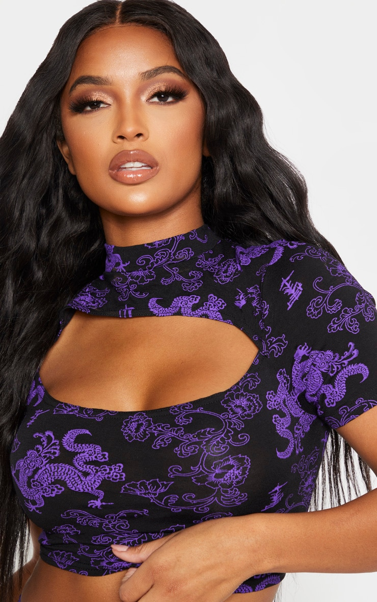 Shape Purple Dragon Print Cut Out Crop Top 5