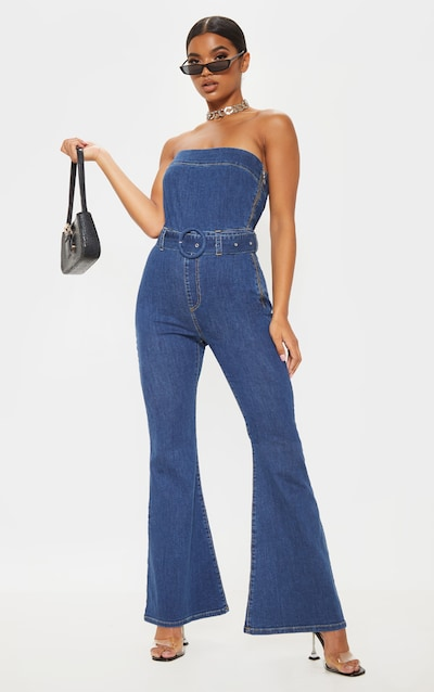 Mid Wash Belted Flared Bodycon Jumpsuit