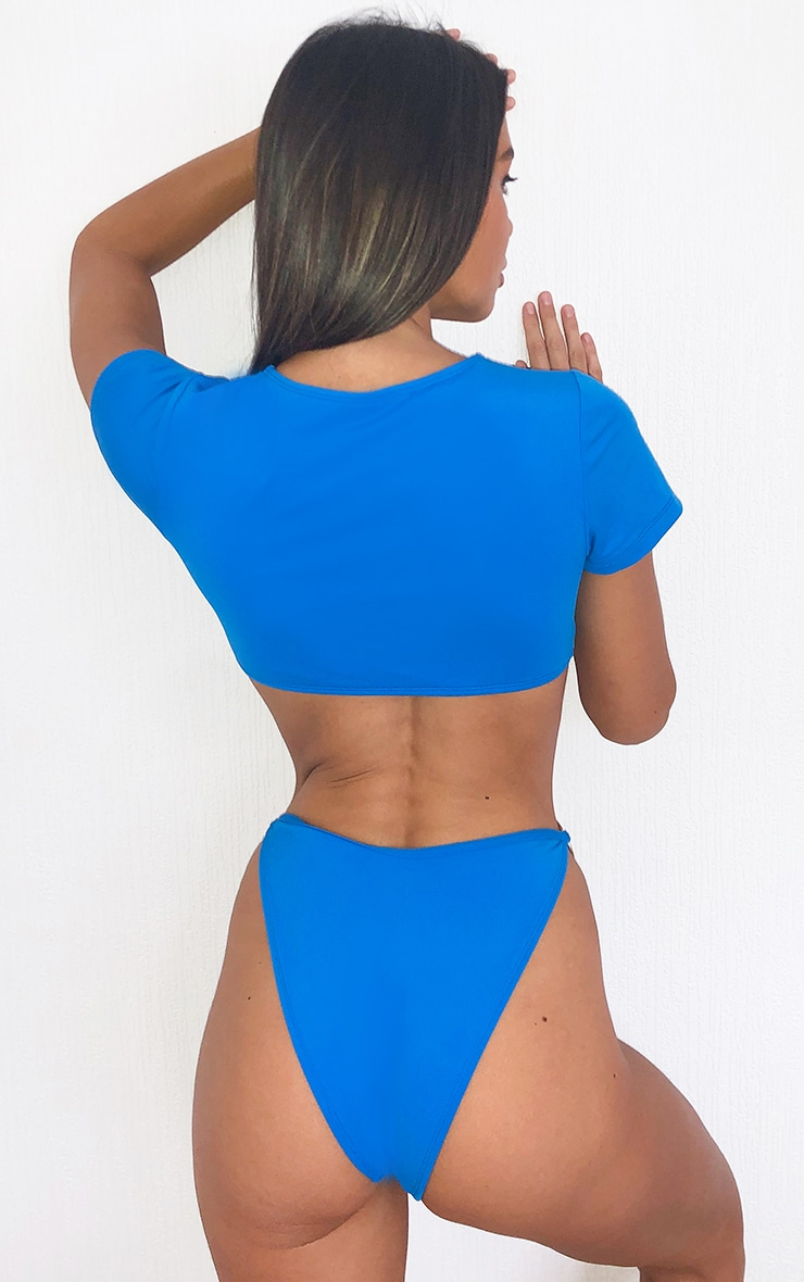 Bright Blue Ring Detail T-Shirt Bikini Top 2